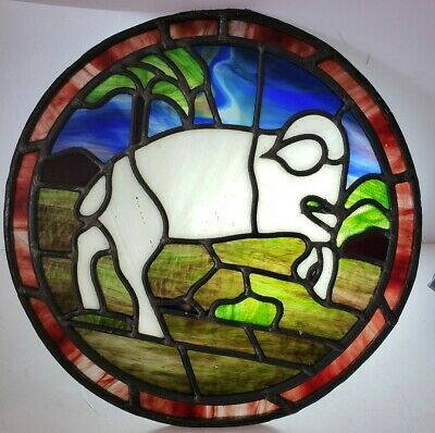 Antique 19th C Stained Glass Leaded Glass Biblical Ram Round Church Window Panel