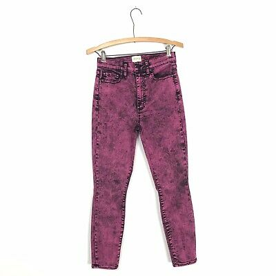 Alice + Olivia Women's 27 GOOD Pink Acid Wash Skinny Jeans Stretch Denim B6