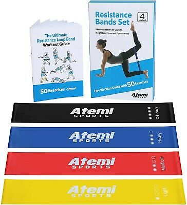 Resistance Bands Set of 4 Heavy Duty Fitness Exercise Bands Proworks Resistance