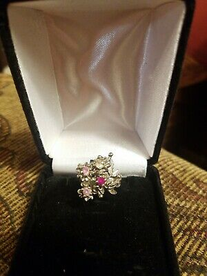 Antique 10k White Gold  multi stone Flower Ring, Size 6 and 1/2