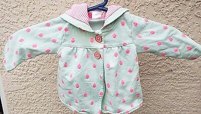 Carter's Lt Green With Pink Strawberries Hooded Jacket Girls Size 6 Months