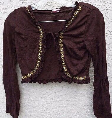 Xhilaration Girls Brown & Gold Embroidered Design Long Sleeve Top With Tie M