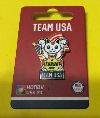 Tokyo Japan 2020 Summer Olympics Team Usa - Lucky Cat With Usa Flag Pin