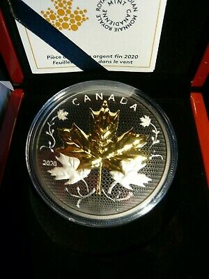 2020 CANADA MAPLE LEAVES IN MOTION 50$ 99.99% 5oz. PURE SILVER COIN WITH RHODIUM