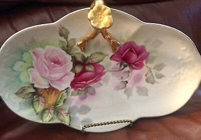 Antique Limoges  hand painted  Nappy  Bowl ( gold accents & roses)