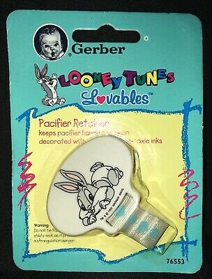Vintage Gerber Looney Tunes Bugs Bunny Lovables Pacifier Holder!!NOS!! 1994!!