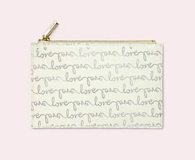 Kate Spade Love Pencil Pouch Cosmetic Clutch Silver NEW
