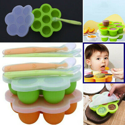 2Pcs Food Storage Reusable Box Silicone Container Baby Preparation Freezer Tray