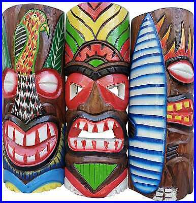 """Set Of 3 Wooden Handcarved Natural Style 12"""" Tall Tiki Masks Tropical Wall Decor"""