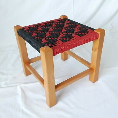 Vintage Retro Wooden Foot Stool with Red & Black Geometric Woven String Seat