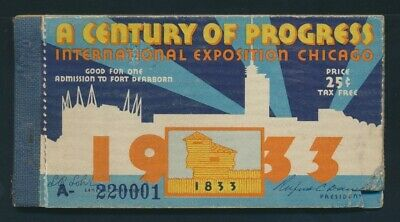 """USA: 1933 Chicago Exposition Complete Book 10 x 25c """"ART DECO"""" Admission Tickets"""