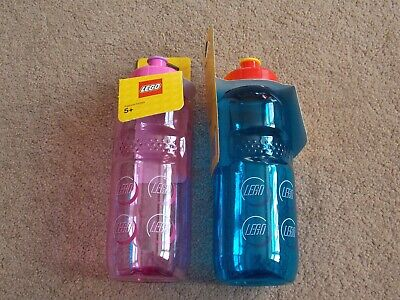 LEGO - ( x2 DRINKING WATER BOTTLES - BLUE + PINK ) BRAND NEW