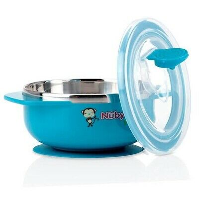Nuby Stainless Steel Suction Bowl-blue