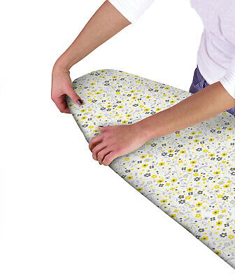 Country Club Ironing Board Cover, Grey and Yellow Flowers Laundry Cute Novelty