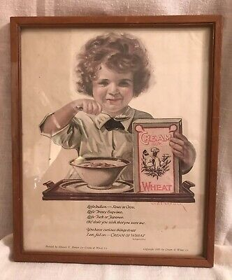 1920 Cream Of Wheat Framed I Am Fed On Cream Of Wheat Tossle Haired Lil Girl