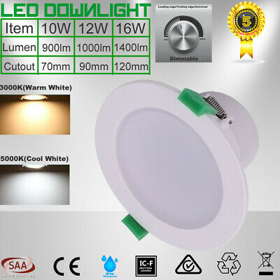 Recessed 10W 12W 16W LED Downlight Kit Dimmable Warm/Cool White 5 Yrs Warranty