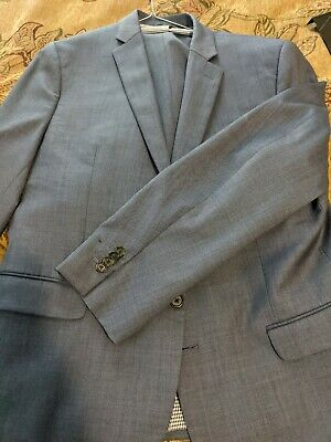 Banana Republic - Men's Slim Solid Wool Suit Blue 44 Jacket / 35X30 Pant ($450)