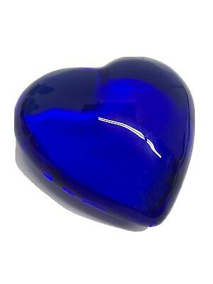 "Heart Cobalt Blue Glass Paperweight Handmade 3""x3"" 1.25"" Heart-shaped Decor"