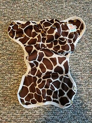 Peachy Green cloth diaper shell cover EUC giraffe print brown size 1 side snap
