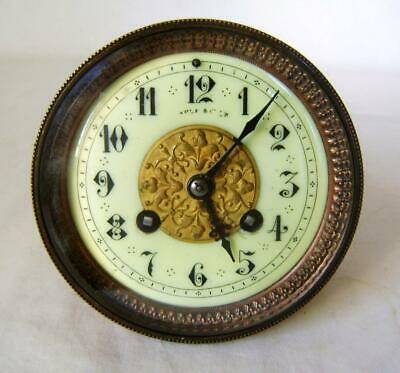 French 8 Day Rack Striking Mantle Clock Movement Maple & Co. Paris working order