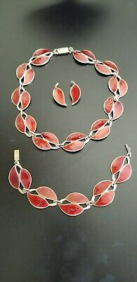 Enamel Red Gullioche Meka DANISH SILVER NECKLACE 3 PC VINTAGE Denmark