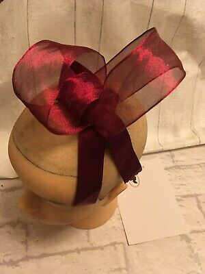 Dark Red Bow Fascinator Wedding Races Prom Ascot dance goth Headpiece Clip