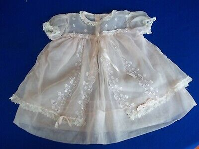 Vintage Baby Sheer Dress 1940's era Light Pink Lace Trim Machine Embroidery sz1