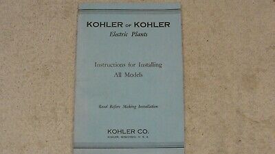 Vintage 1943 Kohler of Kohler Electric Plants, Instalation Instructions