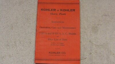 Vintage 1942 Kohler of Kohler Electric Plants, Operation/Care, Parts Price