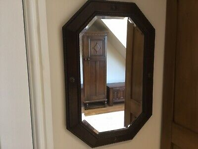 Antique Vintage Victorian Oak Wall Bevelled Mirror Jacobean Style