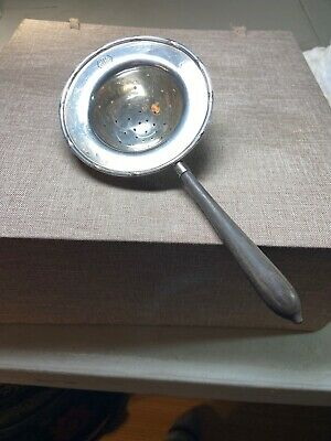 Antique Sterling Silver 925 Tea Strainer Ebony Handle Early 1900's