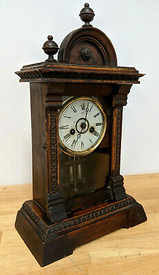 Antique Junghans German Wooden Mantel / Bracket Clock - circa 1900