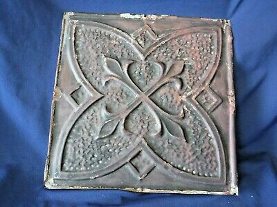 "Vintage~Antique Metal Tin Ceiling Tile 12"" X 12""Reclaim Salvage Shabby~Old Paint"