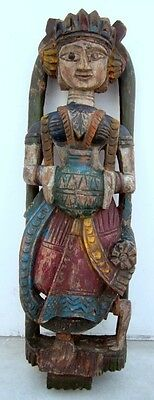 Antique Old Wooden Hand Carved Painted Wooden Tribal Lady Figurine