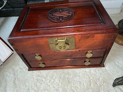 Antique Chinese Rosewood Jewelry Box Longevity Brass