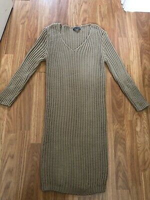 Boohoo Maternity. Size Small. Toffee Brown, Ribbed Knitted Dress. Ex Cond
