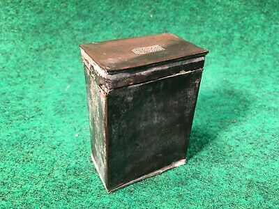 Antique 1860's Railroad Chinese Opium Can Stamped Tin Box Brass Lamp Container