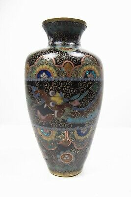 Antique Japanese or Chinese Cloisonné Vase w/ Intricate Dragon 4-3/4""