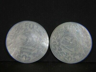 2 Antique Chinese Carved Mother of Pearl Round Fish Gaming Counter CHIPS