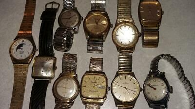 Lot of 10 Vintage Elgin Waltham Croton Holland Piccard Armitron Mens Watches