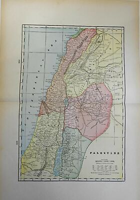Holy Land Palestine Israel Jerusalem 1903 double page color lithograph map