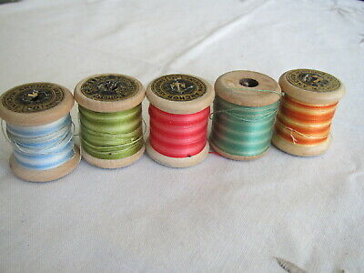 Vintage variegated cotton on small wooden reels x 5