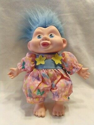 """Vintage Troll Soft Doll Applause 1991 with outfit blue hair 10"""";New old stock"""