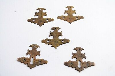 Lot of 5 Primitive Antique Brass Furniture Decorative Drawer Plates Key Holes