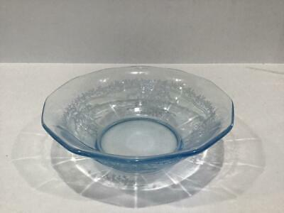 "Fostoria 6"" Cereal Bowl, Azure Blue JUNE Etching on Fairfax Shape"