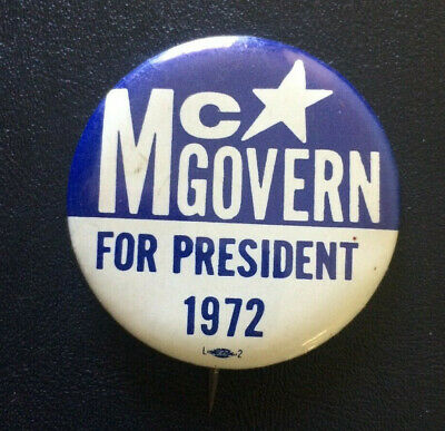 Vintage US Presedential Campaign Pin Back Button McGovern For President 1972