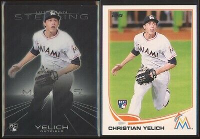 CHRISTIAN YELICH 2013 Topps Update US290 + Bowman Sterling #38 Rookie LOT x2 RC