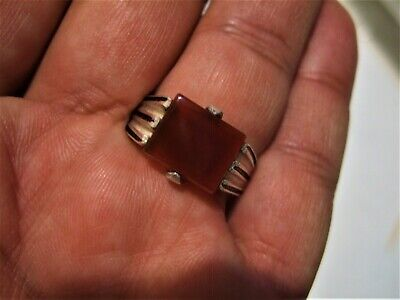 Natural Vintage Yemen Persian Carnelian Aqeeq Silver ring 6.13-gm us:11.5