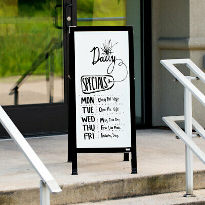 """42""""x18"""" A-Frame Black Aluminum Restaurant Sign Board with White Marker Board"""