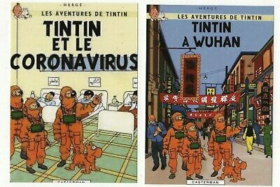 Lot 2 cartes postales pastiche TINTIN :Tintin à Wuhan...Hors Commerce 2020